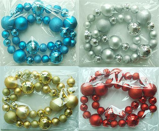 Декоративная гирлянда из пластиковых шаров, 4 вида 105-899