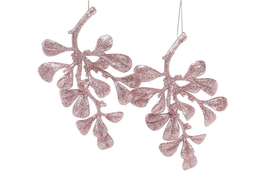 Набор елочных украшений Ветка, 2 шт, цвет -нежно-розовый глитер, пластик, в упаковке 72шт.  (113-438)