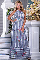 Красивое  женское платье сарафан 2662 бело-синяя клетка