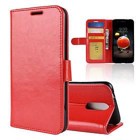 Чехол книжка для LG K8 2018 X210EM боковой с отсеком для визиток, Гладкая кожа, красный