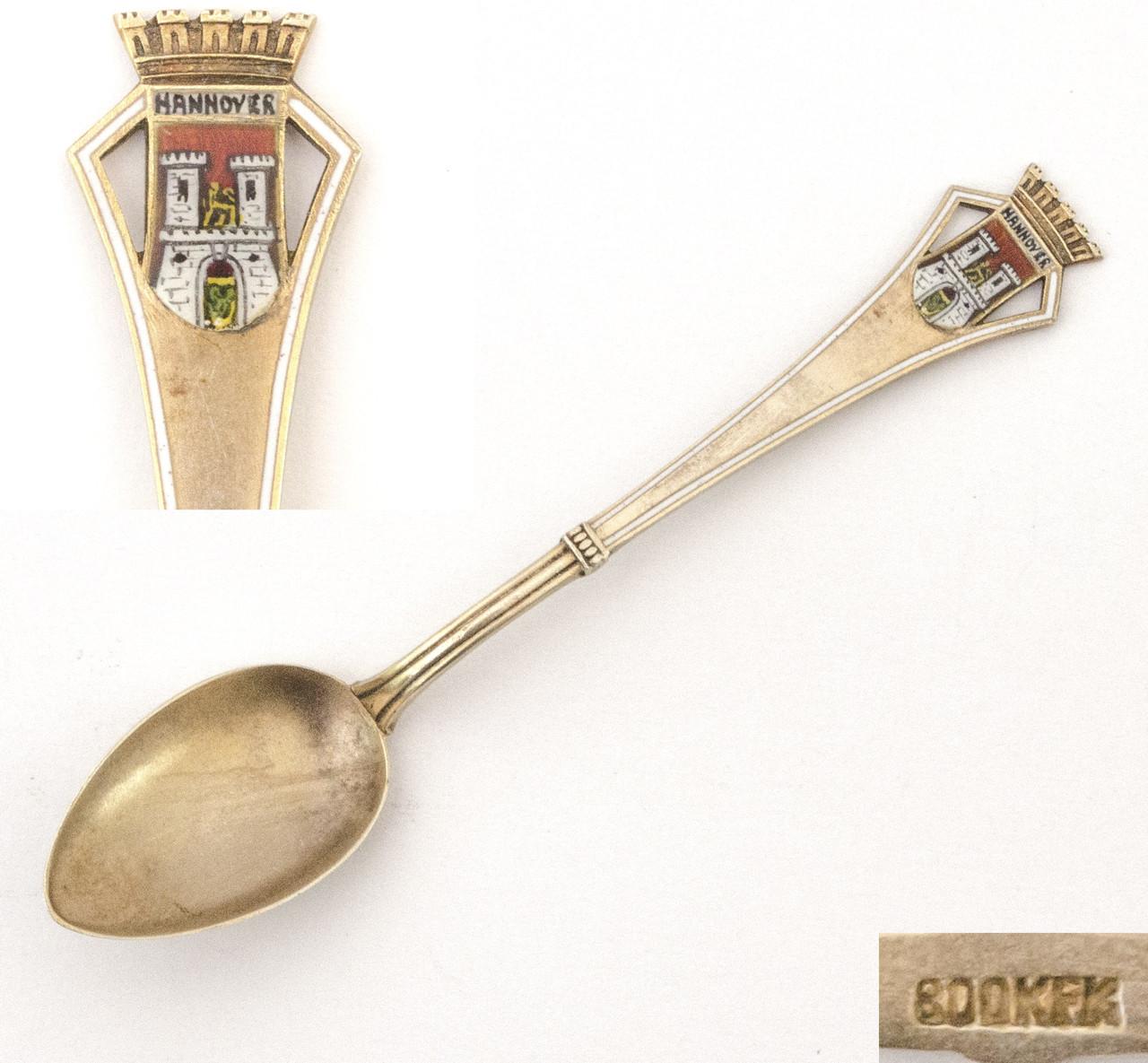 Сувенирная серебряная ложка HANNOVER, Германия, серебро 800 KFK