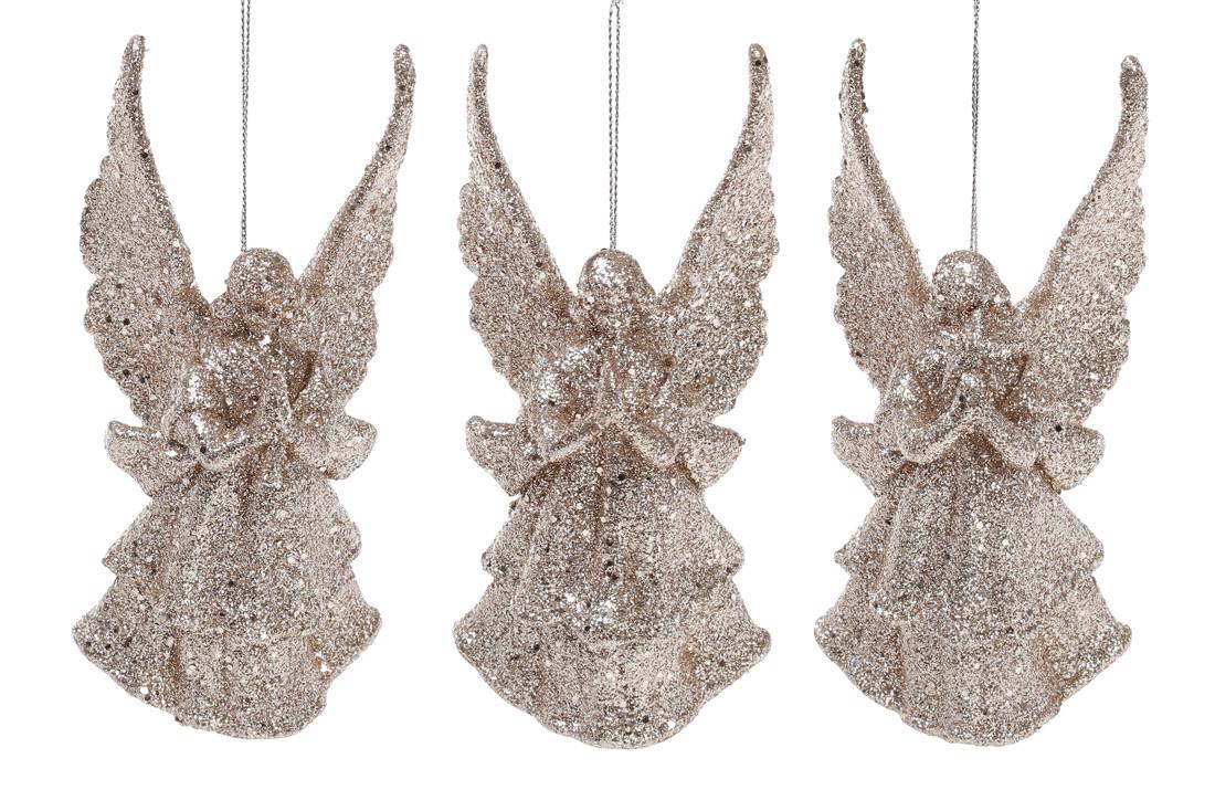 Елочное украшение Ангел, 3 дизайна, цвет - шампань глитер 113-411