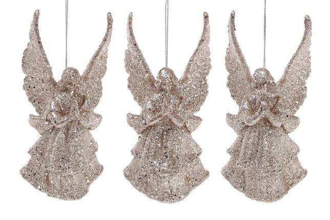 Елочное украшение Ангел, 3 дизайна, цвет - шампань глитер 113-411, фото 2
