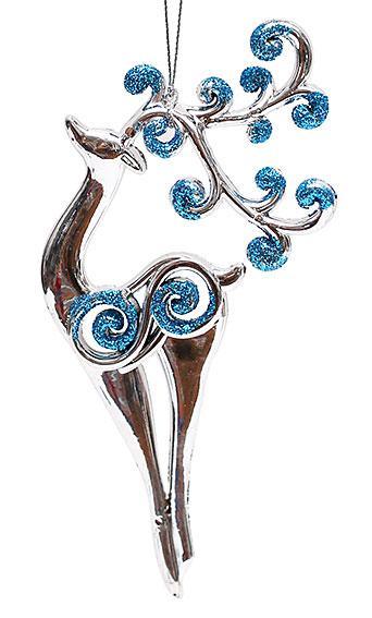 Елочное украшение Олень 17см, цвет - серебро с синим 788-204