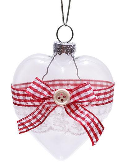 Елочное украшение 6,5 см прозрачный с лентой, стекло,  в упаковке - 6шт (NY15-105)