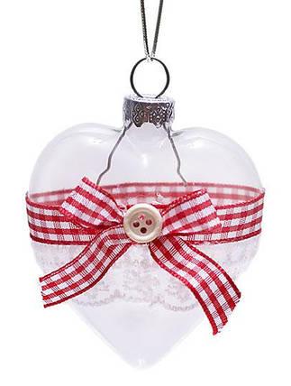 Елочное украшение 6,5 см прозрачный с лентой, стекло,  в упаковке - 6шт (NY15-105), фото 2
