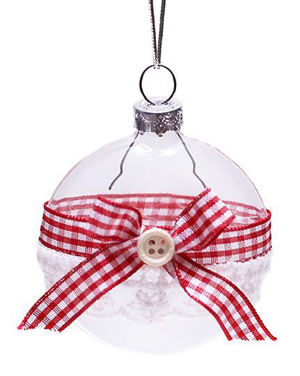 Елочное украшение 6см прозрачный с ленто, стекло, в упаковке 6 шт. (NY15-107)