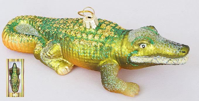 Елочное украшение Крокодил 15см, стекло, в упаковке 8шт. (NY32-A27)