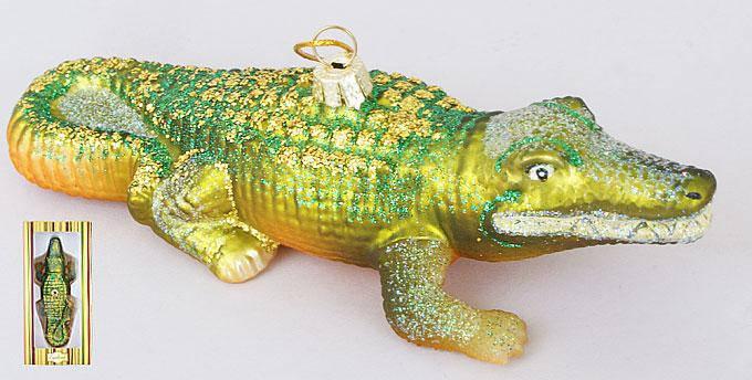 Елочное украшение Крокодил 15см, стекло, в упаковке 8шт. (NY32-A27), фото 2