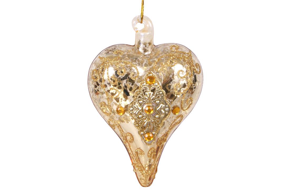 Елочное украшение в форме сердца с орнаментом и кристаллами 9см, стекло, в упаковке 12шт. (118-B11)