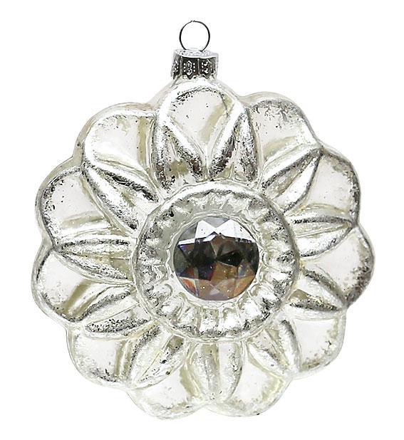 Елочное украшение в форме цветка с кристаллом 10см, стекло, в упаковке 12шт. (118-B05)