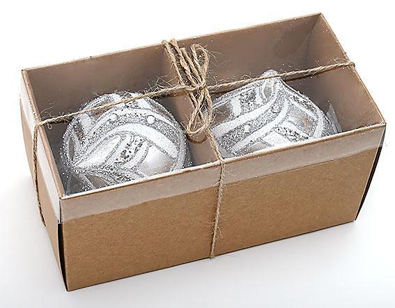 Набор елочных украшений в форме луковицы (2шт) 8см, стекло (172-387)