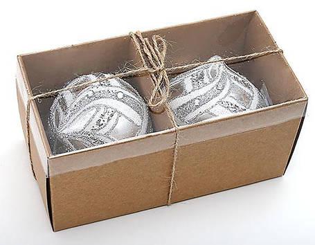 Набор елочных украшений в форме луковицы (2шт) 8см, стекло (172-387), фото 2