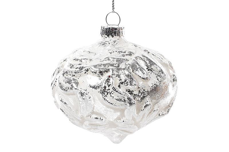 Елочное украшение 7.5см, белый с серебром, стекло, в упаковке 6шт. ( NY15-298)