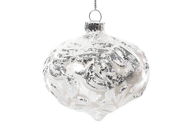 Елочное украшение 7.5см, белый с серебром, стекло, в упаковке 6шт. ( NY15-298), фото 2