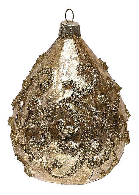 Елочное украшение в форме капли с золотым орнаментом 11см, стекло, в упаковке 12шт. (118-S25)