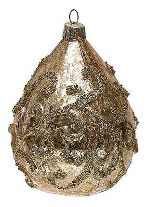 Елочное украшение в форме капли с золотым орнаментом 11см, стекло, в упаковке 12шт. (118-S25), фото 2