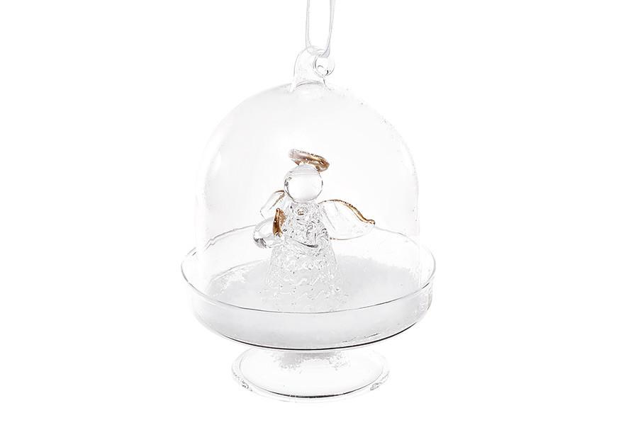 Елочное украшение с фигуркой ангела внутри 10см, стекло, в упаковке 12шт. (NY28-401)