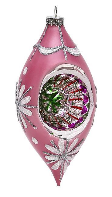 Елочное украшение в форме оливы с цветной серединой 14.5см , стекло, в упаковке 12шт. (118-S56)