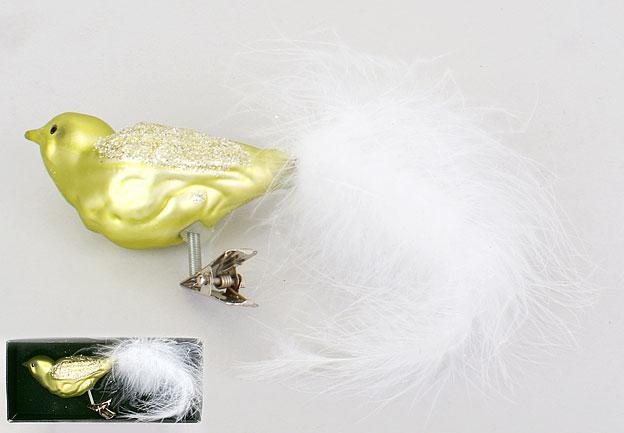 Елочное украшение Птица на прищепке 16см, стекло, в упаковке 12шт. (172-982)