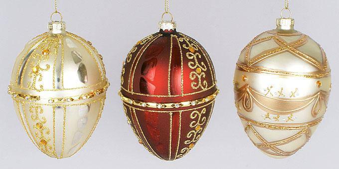 Елочное украшение Фаберже 12см, 3 вида, стекло, в упаковке 16шт. (172-974), фото 2