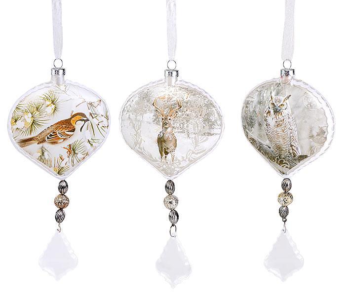 Елочное украшение 18см в форме луковицы с картинкой в стиле винтаж, 3 вида, стекло, в упаковке 6шт. (773-177)