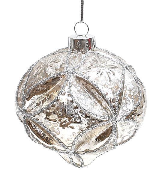 Елочное украшение в форме луковицы 8см, стекло, в упаковке 6шт. (773-191)