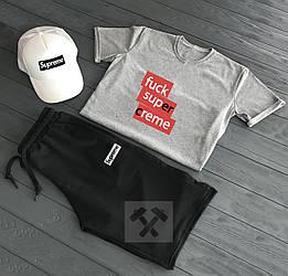Мужской комплект футболка + шорты + кепка Supreme (люкс копия)