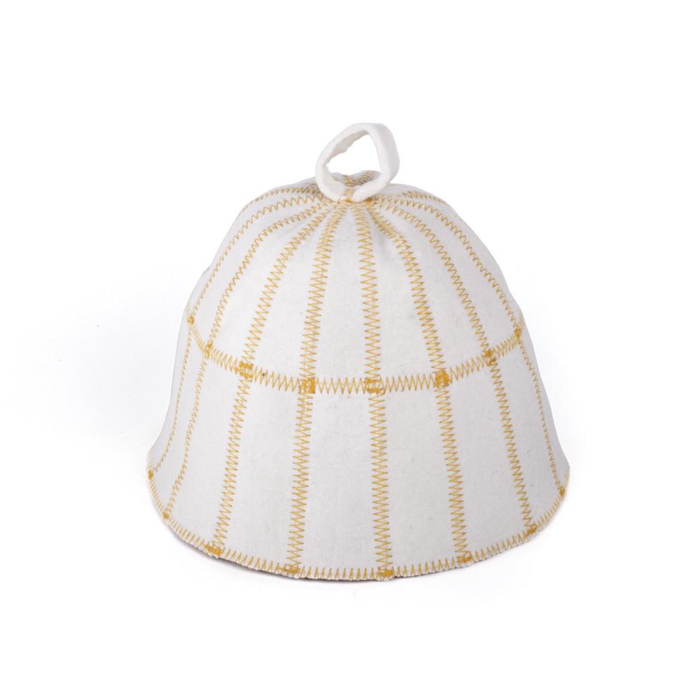 Шапка для сауны Клетка светло-серый  натуральный войлок, Saunapro
