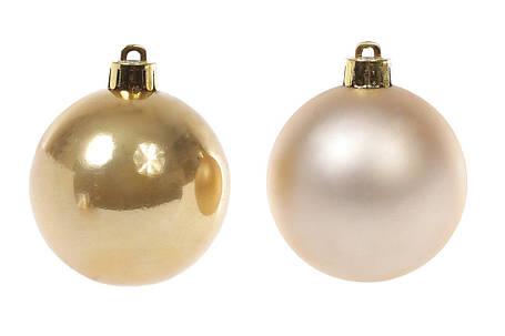 Набор елочных шаров 6см, цвет - светлое золото, 6шт: матовый, перламутр - по 3шт, пластик (147-052), фото 2