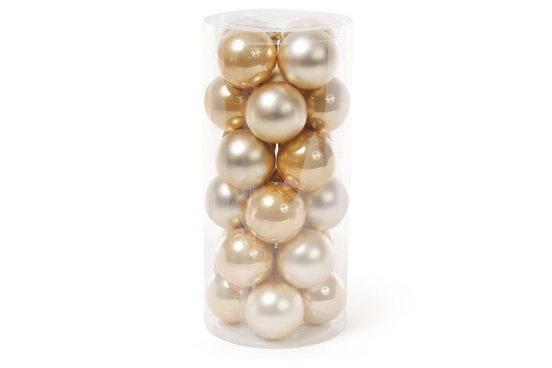 Набор елочных шаров, 6см, 24шт; цвет - светлое золото, 12шт - перламутр, 12шт - матовый, пластик (147-078)