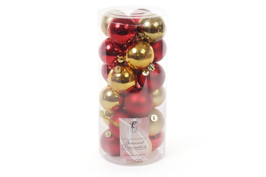 Набор елочных шаров, 6см, 24шт; цвет - золото с красным; матовый, глянец - по 6шт в каждом цвете (147-586)