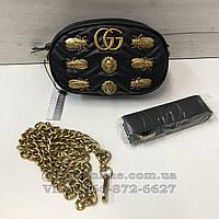 Сумка в стиле Gucci Marmont на пояс с жуками    клатч бананка реплика Гуччи   поясная гучи реплика