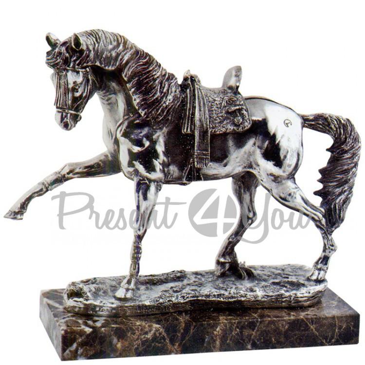 Скульптура из керамики посеребренная «Арабский скакун» Anglada, 27,5х12,5х28 см