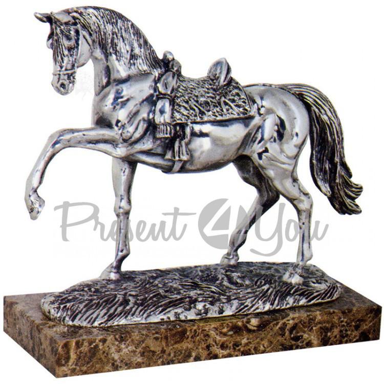 Скульптура из керамики посеребренная «Лошадь с поднятой ногой» Anglada, 30 х 12 х 28 см