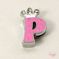 Металлическая бусина с эмалью 17х10мм алфавит платина розовый для рукоделия