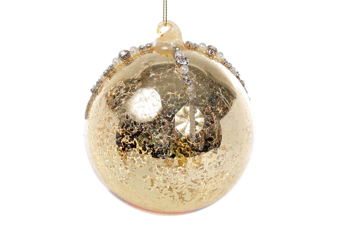 Елочный шар 10см золото антик с декором из страз и бусин, стекло, в упаковке - 4шт.  (118-512)