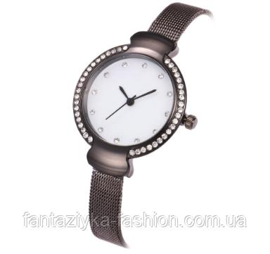 Женские часы графитовые с браслетом Миланского Плетения Mesh Straps