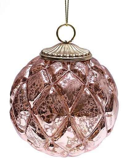 Елочный шар, античная медь 8см , стекло, в упаковке 6шт. (773-341)