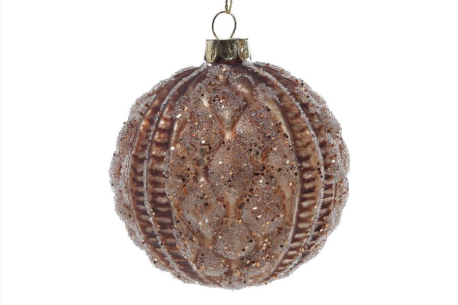 Елочный шар 8см, цвет - коричневый антик, стекло, в упаковке - 6шт. (118-520)