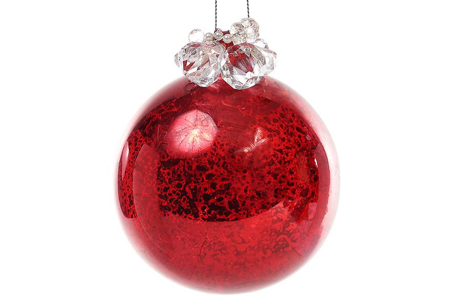 Елочный шар 10см красный антик, с декором из бусин и жемчуга, стекло, в упаковке 4шт. (118-557)