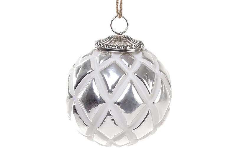 Елочный шар 8см, цвет - мелованное серебро 773-472