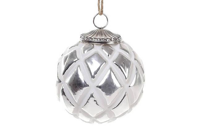 Елочный шар 8см, цвет - мелованное серебро 773-472, фото 2