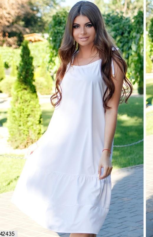Летнее платье средней длины широкое без рукав софт белое