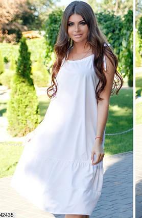 Летнее платье средней длины широкое без рукав софт белое, фото 2
