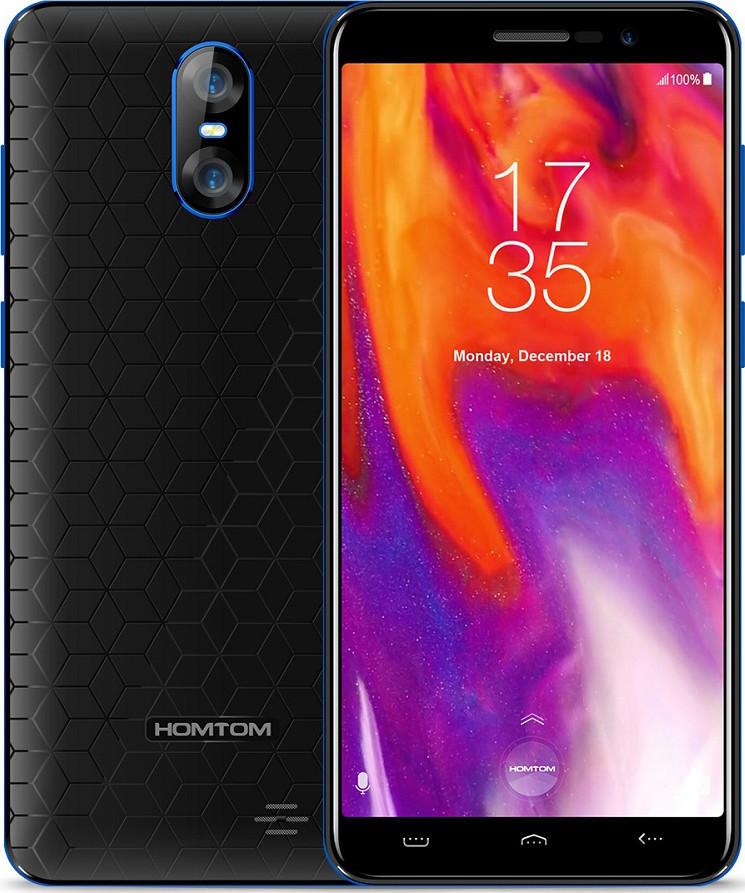 "Смартфон Homtom S12 Black-Blue, 1/8Gb, 8+2/5Мп, MTK6580, 4 ядра, 2sim, 5"" IPS, 2750mAh, GPS, 3G"