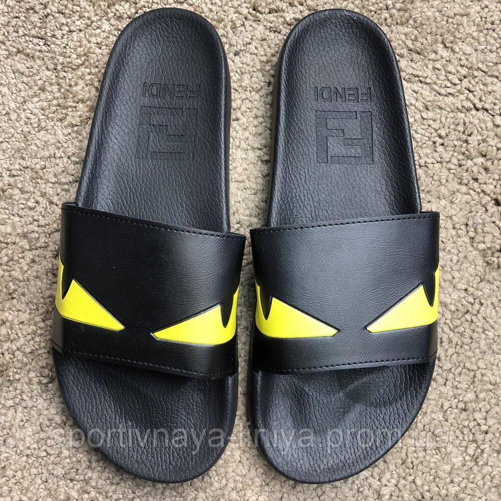 Fendi Slide Sandals Monster Eyes Yellow/Black реплика