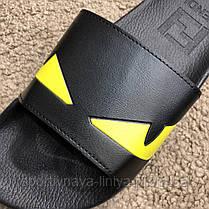 Fendi Slide Sandals Monster Eyes Yellow/Black реплика, фото 3