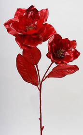 Декоративная ветка Магнолия с листьями, 75см, в упаковке 24 шт. NY21-145