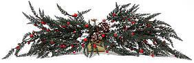 Новогодний декор ветка с ягодами 70см, в упаковке 2 шт. 758-213